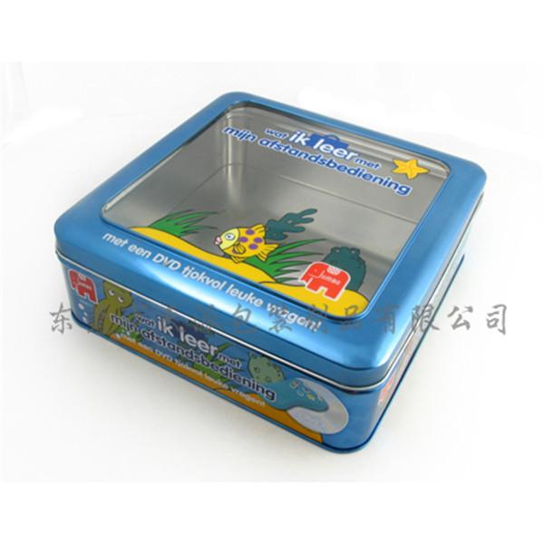 盖开窗柠檬片茶叶铁盒|柠檬干茶方形铁盒
