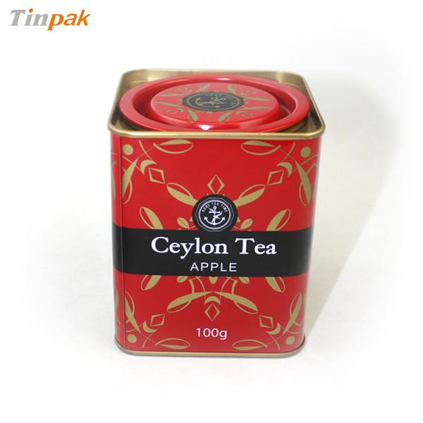 正方形撬盖式红茶茶叶铁盒定做