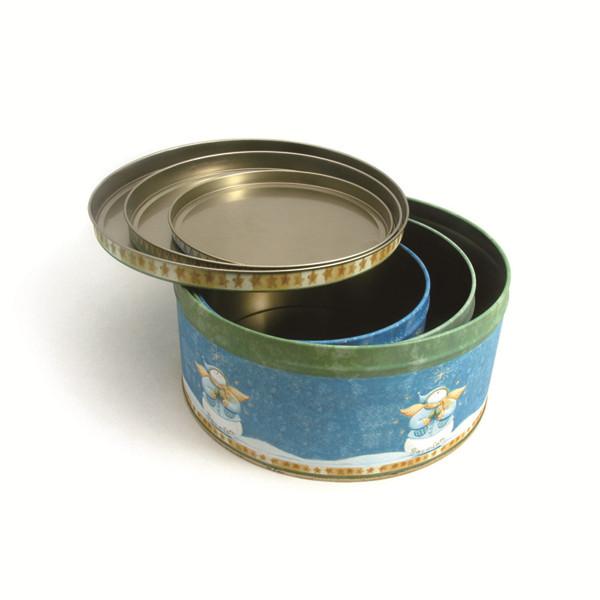 圣诞圆形套罐 三件套圆形铁盒生产厂家