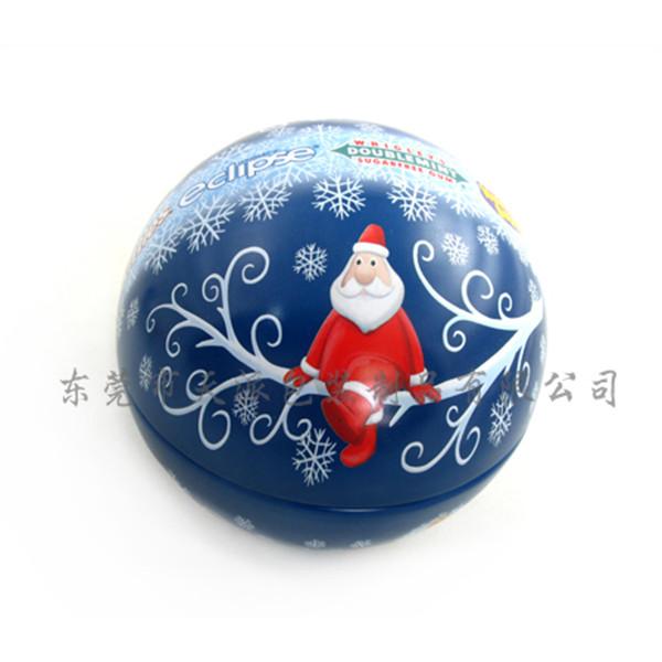 圣诞礼品球形铁盒 圣诞球罐 圆形铁罐