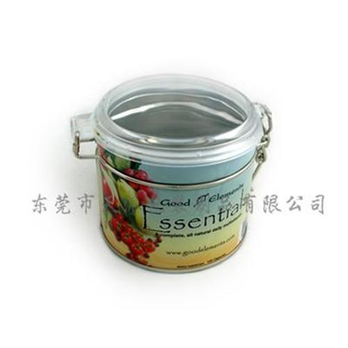 圆形透明盖果茶茶叶包装铁盒定制