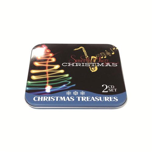 圣诞萨克斯音乐CD铁盒 双碟装圣诞音乐CD包装铁盒