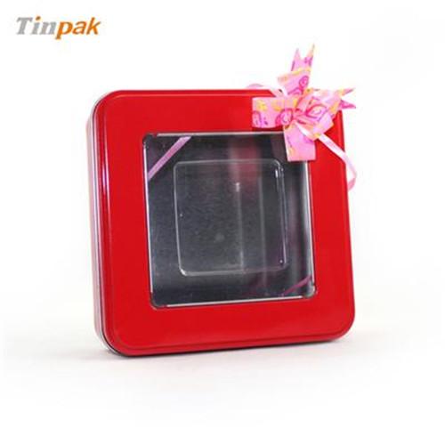 正方形开窗果茶茶叶铁盒定做厂家
