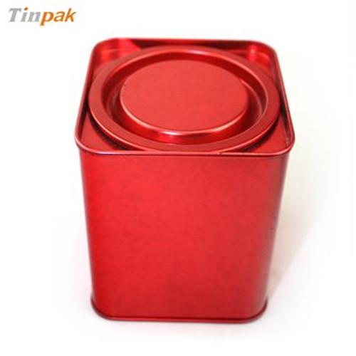 正方形撬盖式普洱茶叶马口铁盒定制