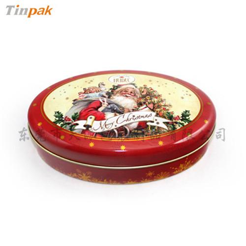 椭圆型圣诞铁盒 圣诞节夹心巧克力小铁盒