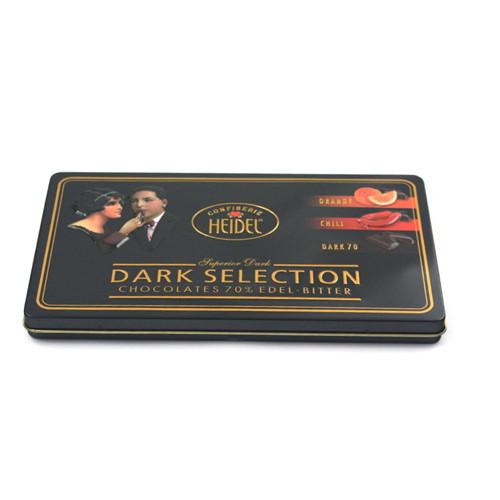 厂家批发定制高档两片带雕刻巧克力马口铁盒