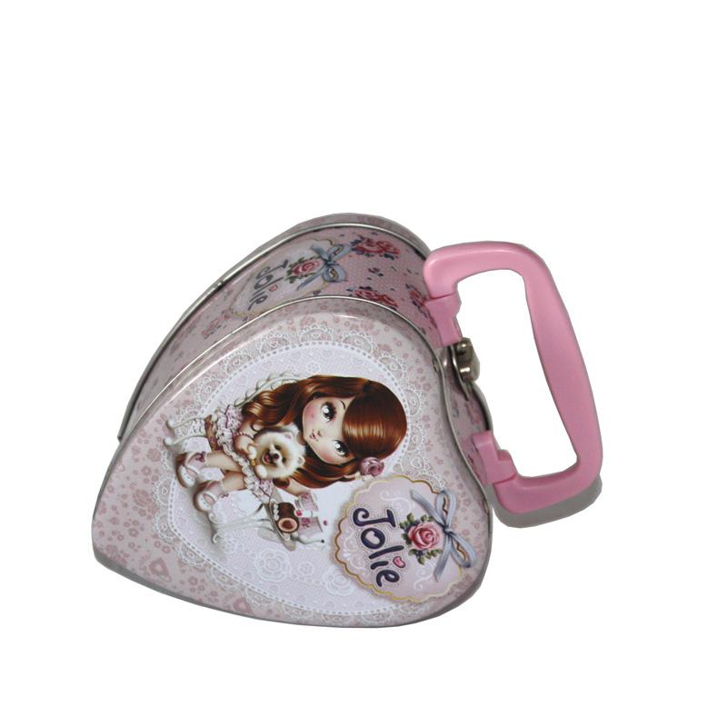 春节心形手提式糖果礼品铁盒|马口铁糖果铁盒子定制工厂