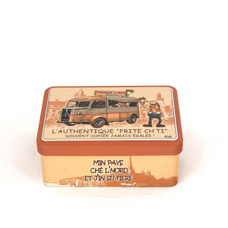高档翻盖式盐焗腰果铁罐包装|精美方形马口铁盐焗腰果罐