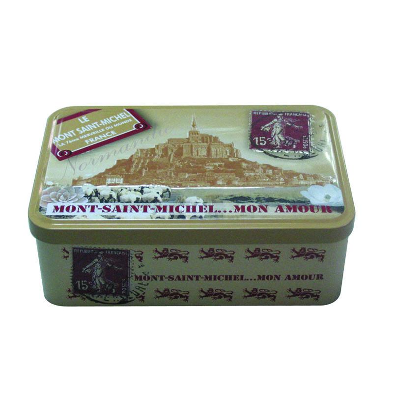 深圳方形翻盖式花茶包装铁盒|精品胶印花茶铁盒定制