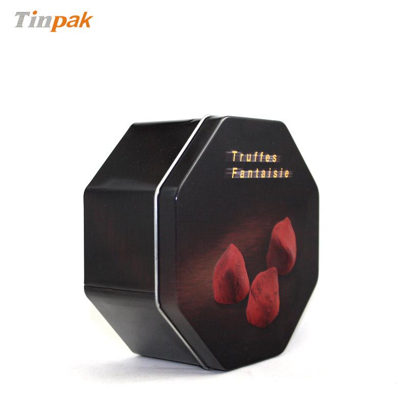 精美八角形巧克力马口铁盒生产定做工厂