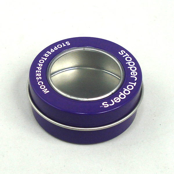 紫色开窗圆形面霜铁盒 杭州面霜圆形铁盒厂家批发