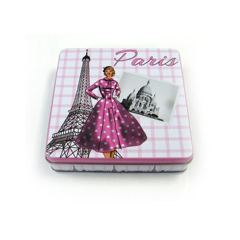 正方形女士瘦身胶囊铁盒定制 通用版瘦身胶囊铁盒定制