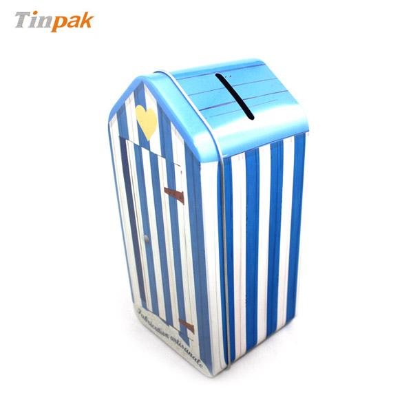 房屋形状马口铁存钱罐 儿童玩具礼品包装铁皮盒定制