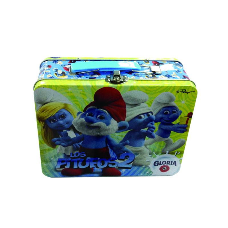 手提式儿童礼品包装盒、蓝精灵图案玩具礼品铁盒定制
