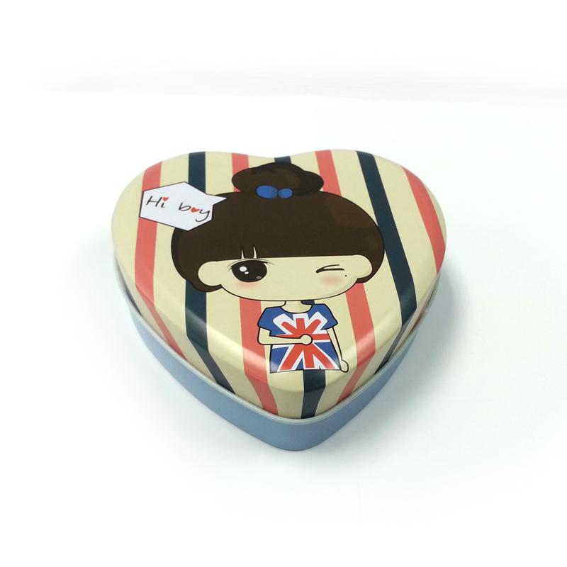 双喜丝滑巧克力喜糖铁盒|三片式心形喜糖铁盒定制