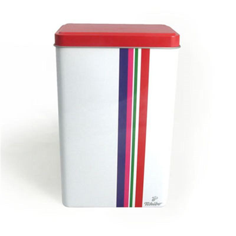 精美长方形白咖啡铁盒定制工厂