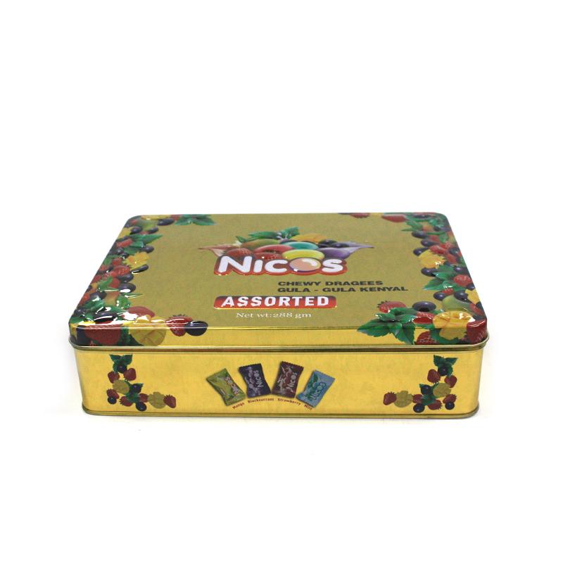 高档长方形马口铁糖果包装铁盒定制