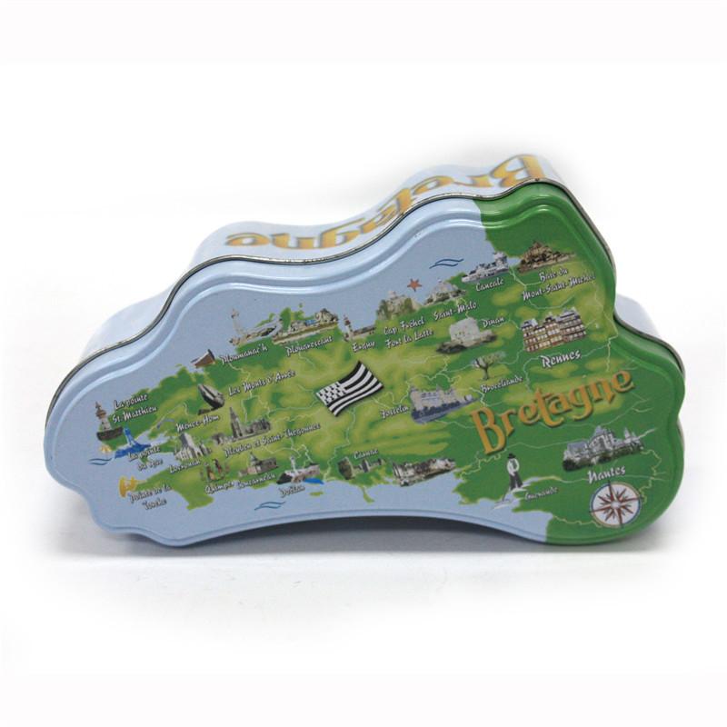 创意地图形状糖果包装铁罐定制工厂