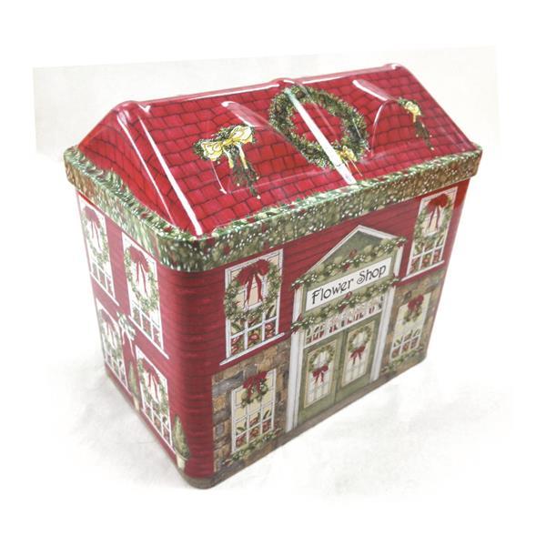 圣诞糖果礼品铁罐生产厂家 异形房子圣诞礼盒