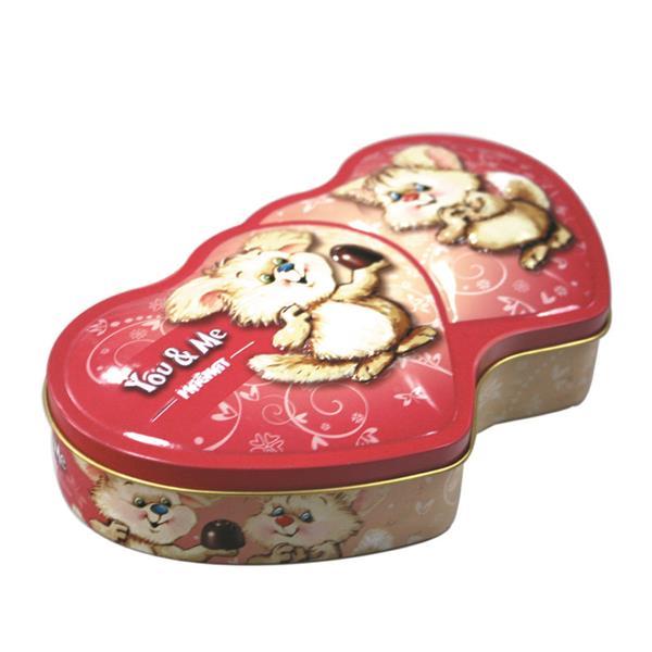 情人节双心形巧克力礼品铁罐定做