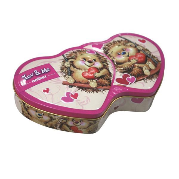 天派制罐定制卡通双心巧克力马口铁礼品罐