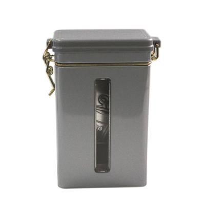 方形银光铁密气开窗礼品罐 长方铁罐定制厂家