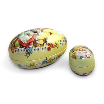 厂家定制复活节蛋形铁盒 彩蛋糖果包装铁盒