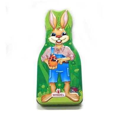 铁罐厂家定制复活节兔子造型巧克力铁盒