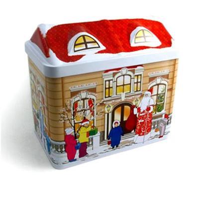 圣诞节屋子罐 马口铁圣诞图案礼品包装铁盒定制生产