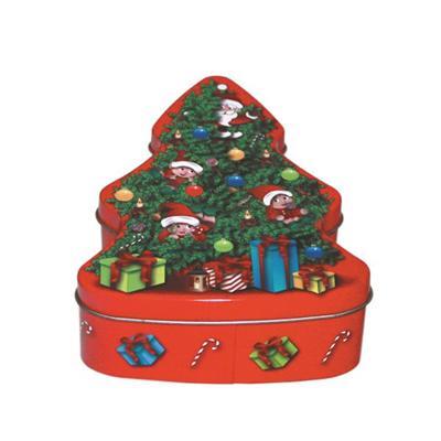 圣诞树形状铁盒定制 广东圣诞礼品包装铁盒指定生产厂家