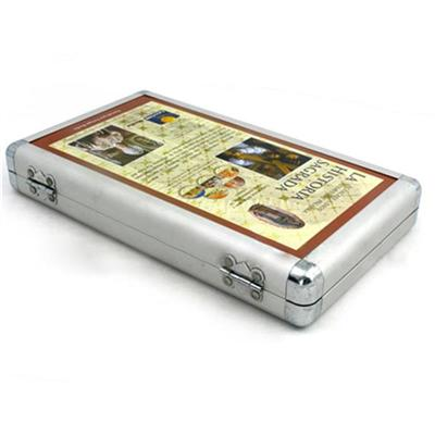 东莞制罐厂家定制方形铝盒40碟装CD光盘复合铁盒