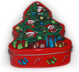 马口铁树形圣诞礼品铁盒定制工厂