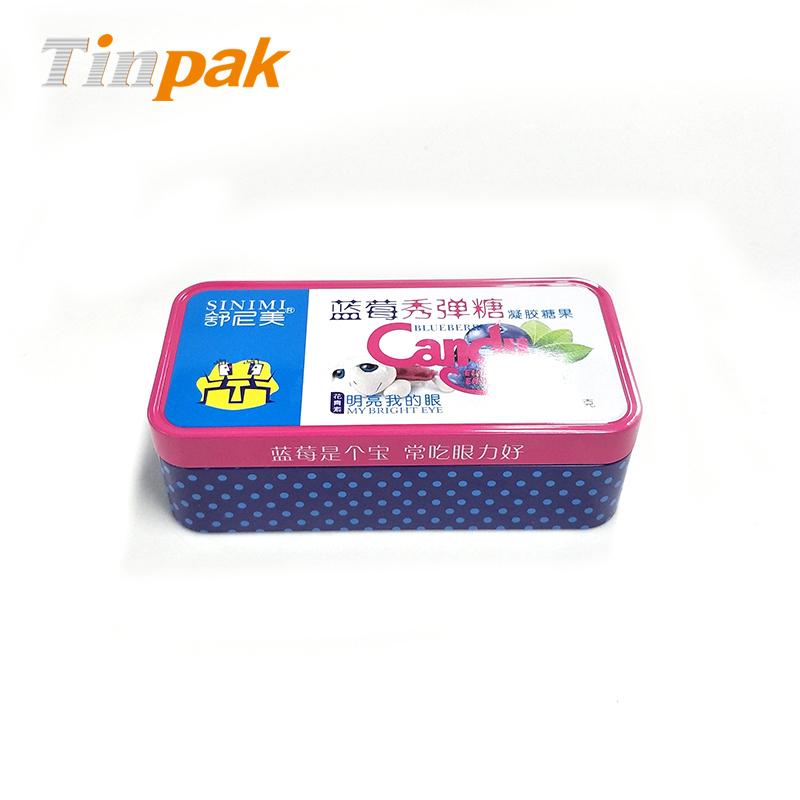 新款长方形蓝莓秀弹糖马口铁罐 铁糖果外包装制罐厂
